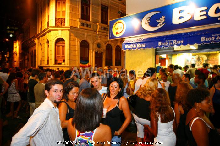 South America, Brazil, Rio de Janeiro, Lapa, Nightlife outside the Beco do Rato Botequim in Lapa, Rio de Janeiro