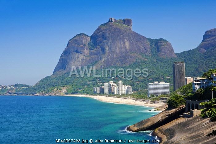 Brazil, Rio de Janeiro state, Rio de Janeiro city, the Pedra da Gavea with Sao Conrado beach and the Intercontinental hotel in the foreground and in Tijuca National Park behind