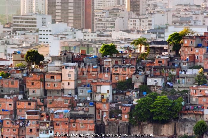 South America, Rio de Janeiro, Rio de Janeiro city, view of breeze block houses in a favela in Santa Teresa