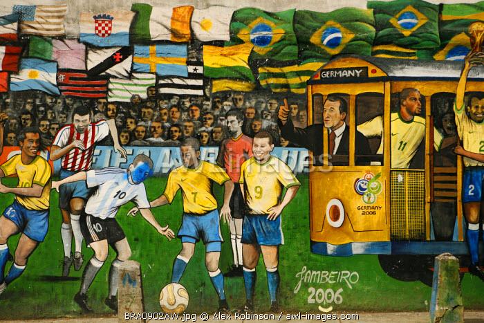 South America, Brazil, Rio de Janeiro, graffiti of a World cup mural in Santa Teresa