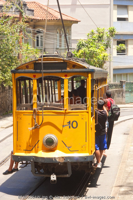 Brazil, Rio de Janeiro state; Rio de Janeiro city, Santa Teresa, Tram at the Largo dos Guimar�es