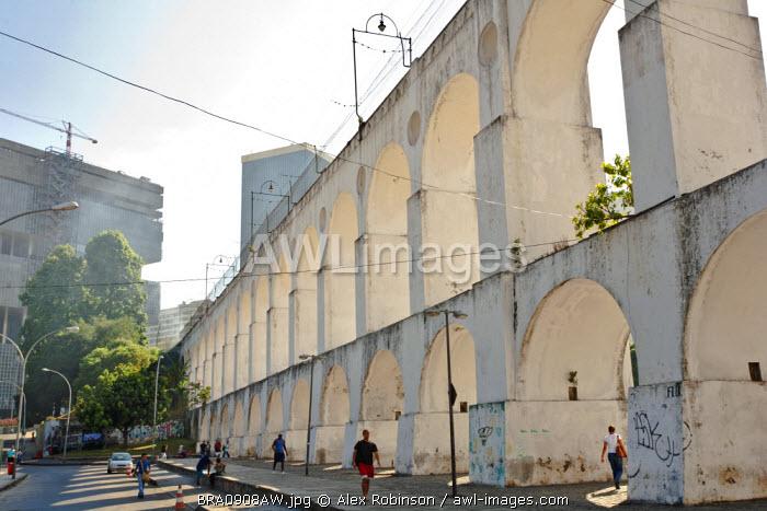 South America, Brazil, Rio de Janeiro, the Lapa arches aqueduct and tram line