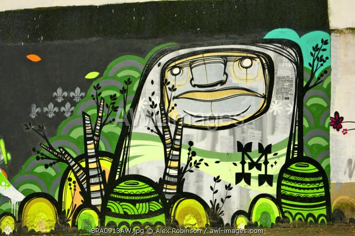 South America, Rio de Janeiro, Rio de Janeiro city, graffiti on a wall in Santa Teresa