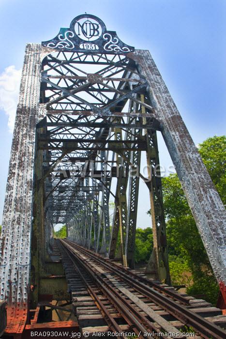 South America, Brazil, Mato Grosso do Sul, 1930s British girder railway bridge over the Rio Miranda, serving the Pantanal train