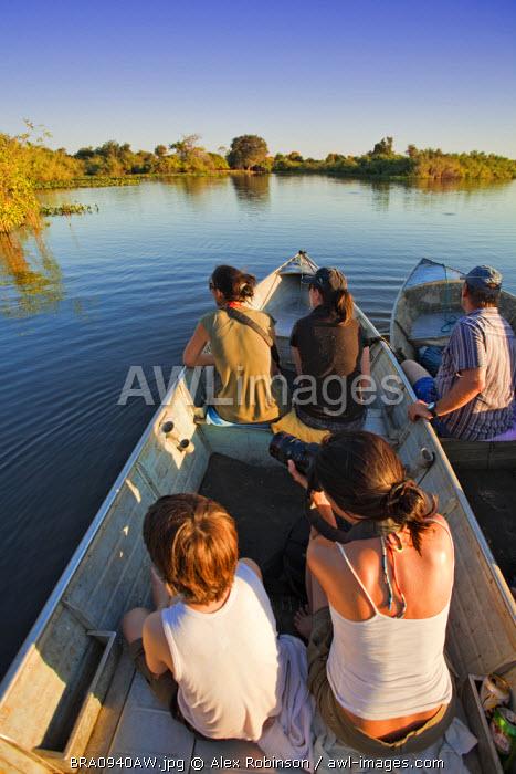South America, Brazil, Mato Grosso do Sul, bird-watchers on the Rio Miranda in the Southern Pantanal