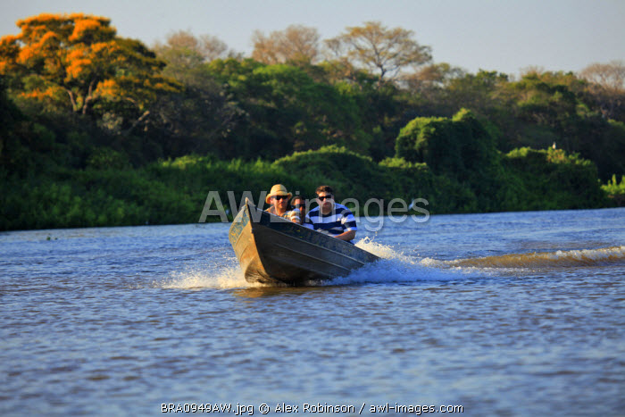 South America, Brazil, Mato Grosso do Sul, Boat on the Rio Miranda in the Pantanal