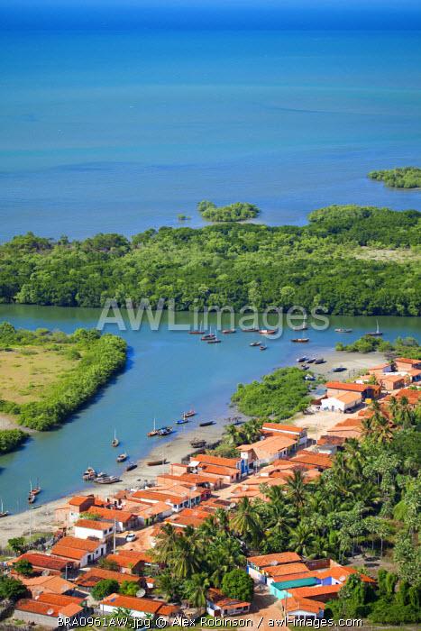 South America, Brazil, Ceara, Aerial of Aranau fishing village near Acarau between Fortaleza and Jericoacoara on the Ceara coast