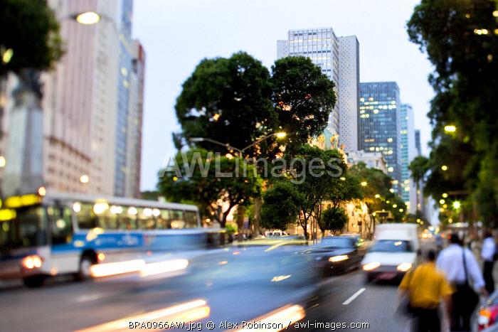 Brazil, Rio de Janeiro State, Rio de Janeiro city, traffic on Avenida Rio Branco in the Rio de Janeiro city centre