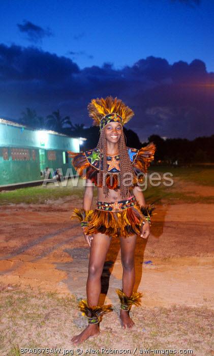 South America, Brazil, Maranhao, Sao Luis, a costumed dancer from the Bumba Meu Boi festival MR