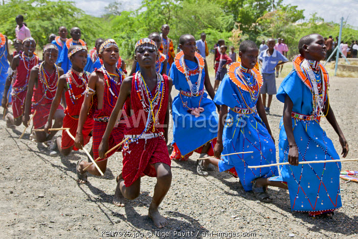 Maasai schoolboys and girls practise for an inter-schools song and dance competition at Magadi. Kenya