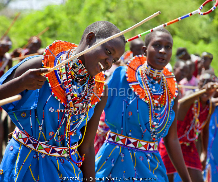 Maasai schoolgirls practise for an inter-schools song and dance competition at Magadi. Kenya