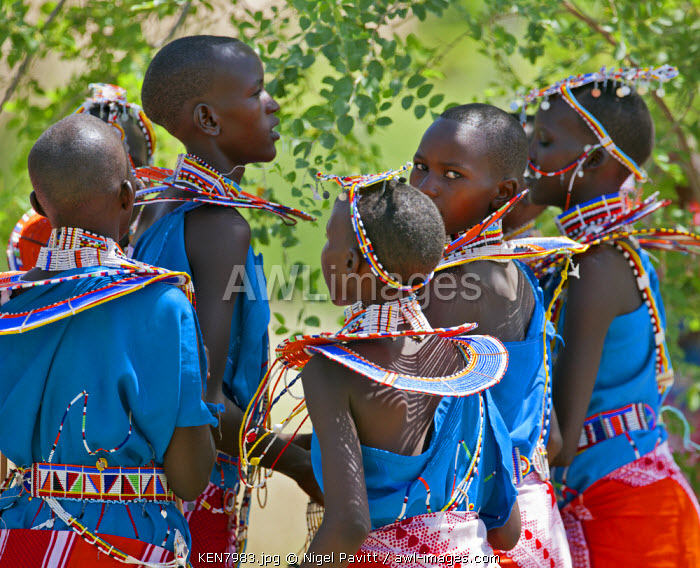 Maasai schoolgirls practise for an inter-schools song and dance competition at Magadi, Kenya