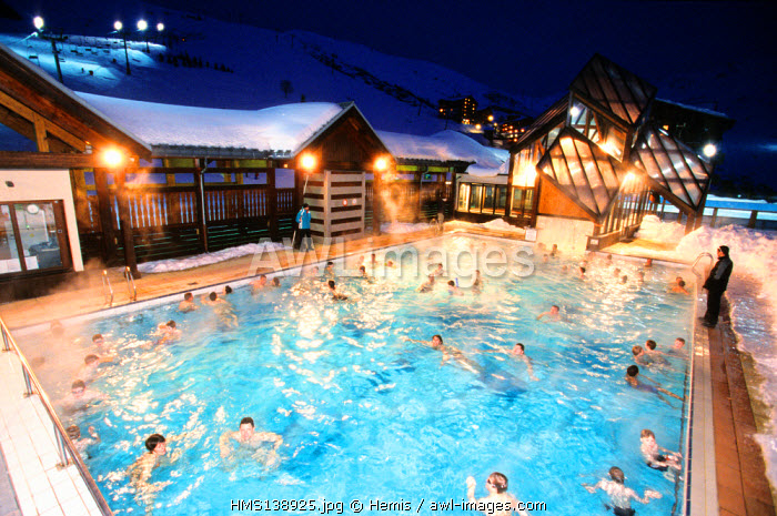 France, Savoie, Les Menuiresn the swimming pool
