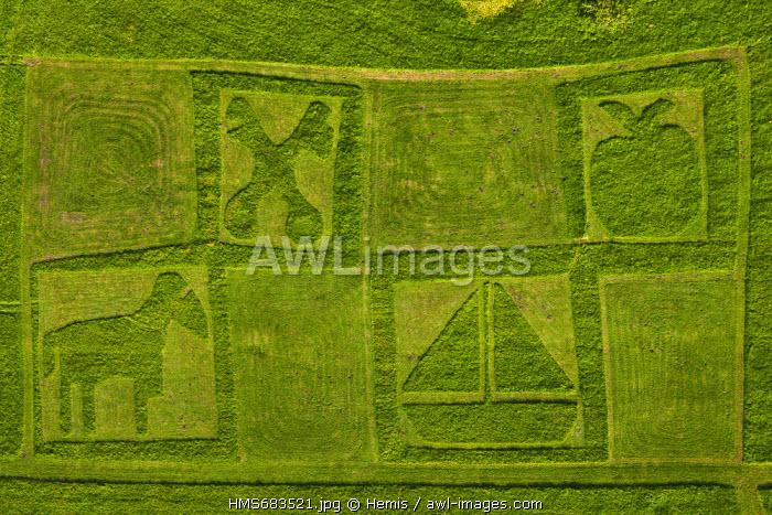 France, Seine Maritime, Jumieges, garden of Saint Pierre de Jumieges abbey (aerial view)