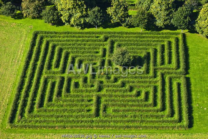 France, Manche, Saint Aubin du Perron Perron castle, the labyrinth (aerial view)