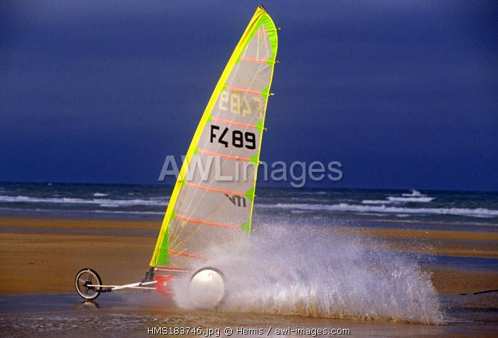 France, Calvados, Colleville sur Mer, sand yacht