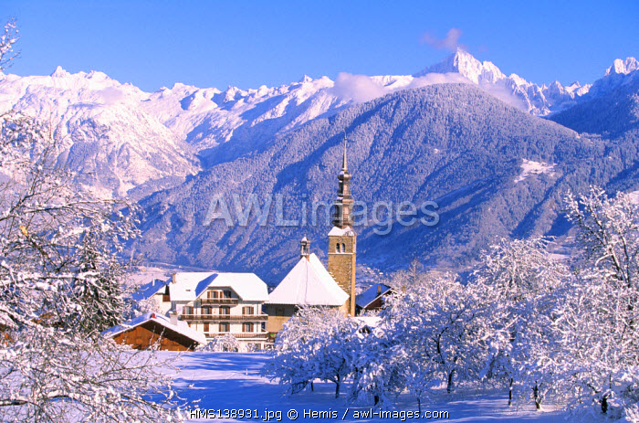 France, Haute Savoie, Combloux and the famous onion dome of the SaintNicolas church (the Mont Blanc in background)