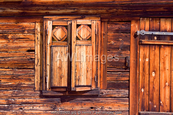 France, Haute Savoie, the Grand Bornand, window detail