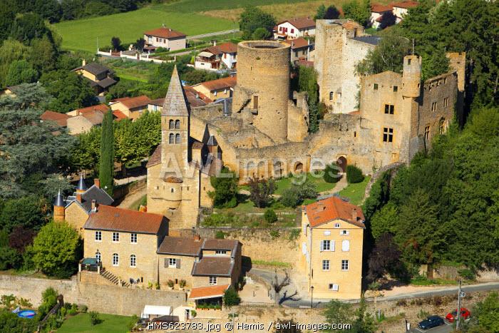 France, Rhone, Beaujolais, Les Pierres Dorees, Azergues Valley, Chatillon, the castle (aerial view)