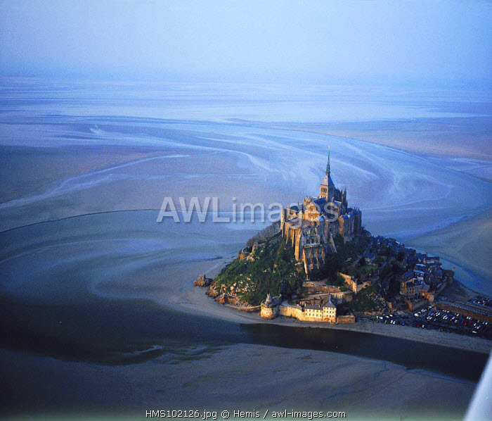 France, Manche, Mont Saint Michel, listed as World Heritage by UNESCO at low tide (aerial view)