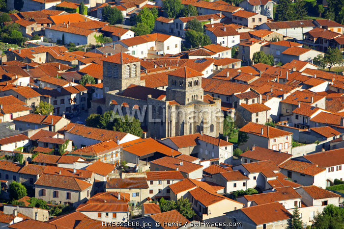 France, Loire, Champdieu, the church and the priory (aerial view)