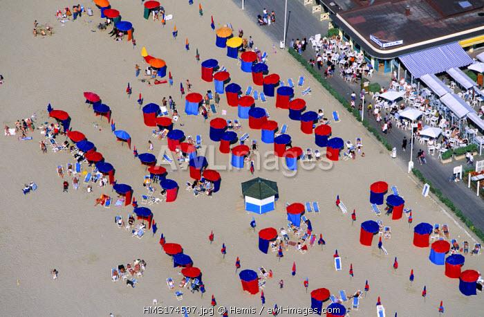 France, Calvados, Pays d'Auge, Deauville (aerial view)