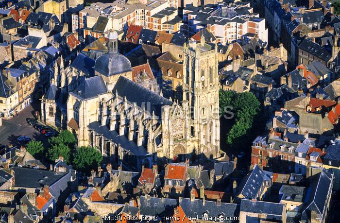 France, Seine Maritime, Pays de Caux, Cote d'Albatre, Dieppe, St Jacques Church (aerial view)