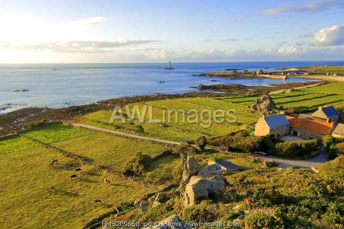 France, Manche, Cotentin, Cap de la Hague, small port of Goury, the lighthouse and the hamlet of la Roche