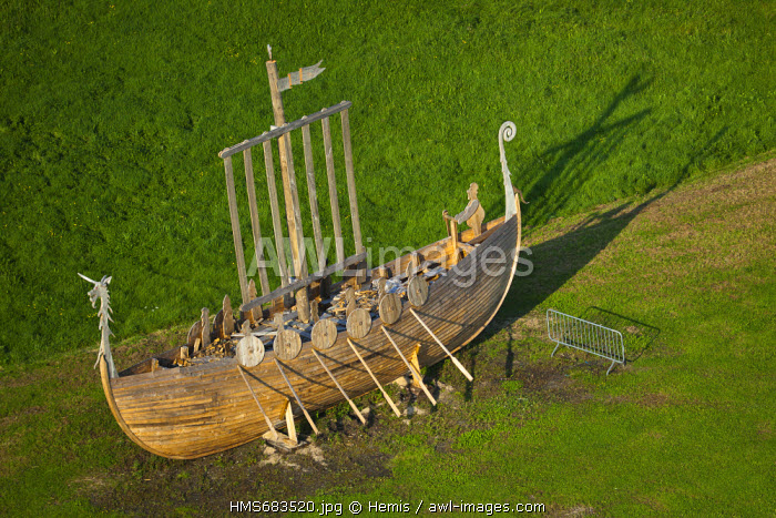 France, Seine Maritime, Jumieges, longship built to a medieval festival and celebrate the birth of Normandy (aerial view)