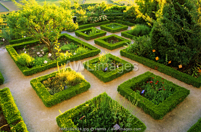 France, Drome, Drome Provencale, La Garde Adhemar village, labelled Les Plus Beaux Villages de France (The Most Beautiful Villages of France), the Jardin des herbes under the church