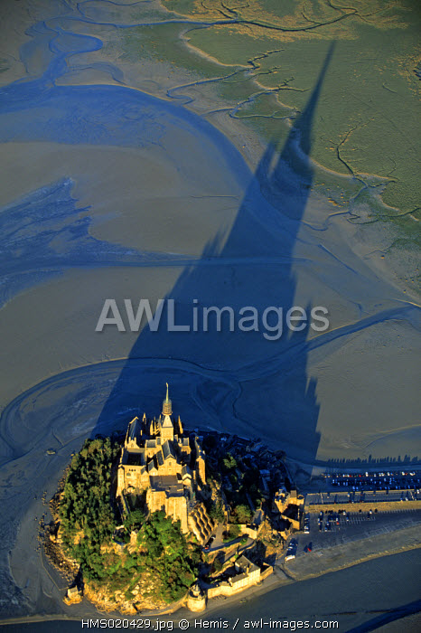France, Manche, Bay of Mont Saint Michel, listed as World Heritage by UNESCO (aerial view)