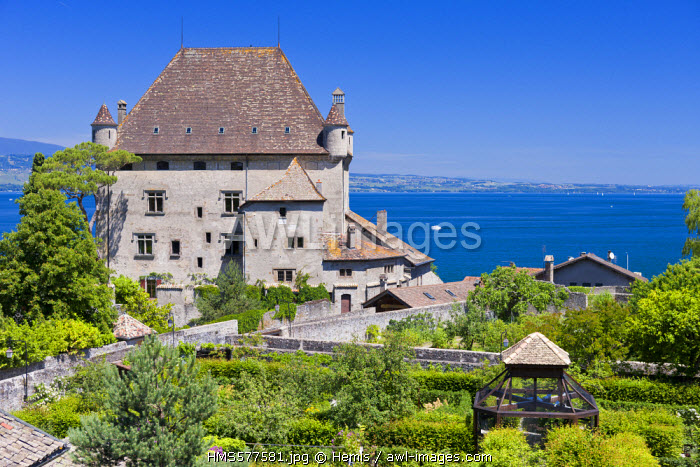 France, Haute Savoie, Yvoire, Leman Lake, labelled Les Plus Beaux Villages de France (the Most Beautiful Villages of France), the Castle of the 14th century and the labyrinth Garden of Five Senses (Jardin des Cinq Sens)