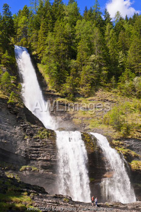 France, Haute Savoie, Giffre valley, Sixt Fer a Cheval, labelled Les Plus Beaux Villages de France (The Most Beautiful Villages of France), the Rouget waterfall