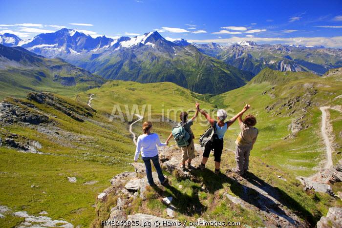 France, Savoie, La Plagne Vanoise, overlooking the glacier VolNet and Le Grand Bec 3398m National Park of La Vanoise from La Roche De Mio 2700