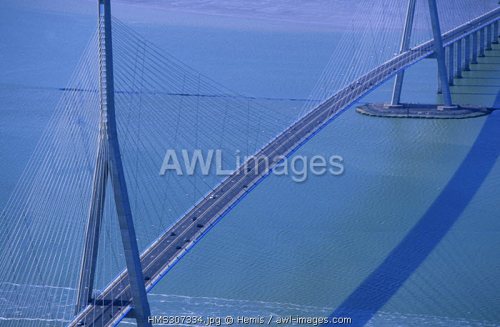 France, Seine Maritime, Le Havre, Pont de Normandie (Normandy Bridge) over Seine River (aerial view)