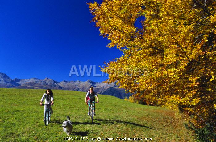 France, Savoie, Mountain biking at Valmorel in autumn