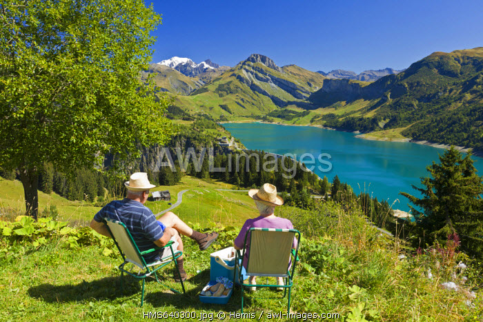 France, Savoie, Massif du Beaufortin, Beaufort, pic nic above the dam of Roselend with a view of the Mont Blanc( 4810m)
