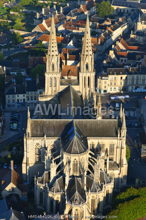 France, Orne, cathedral of Sees (aerial view)