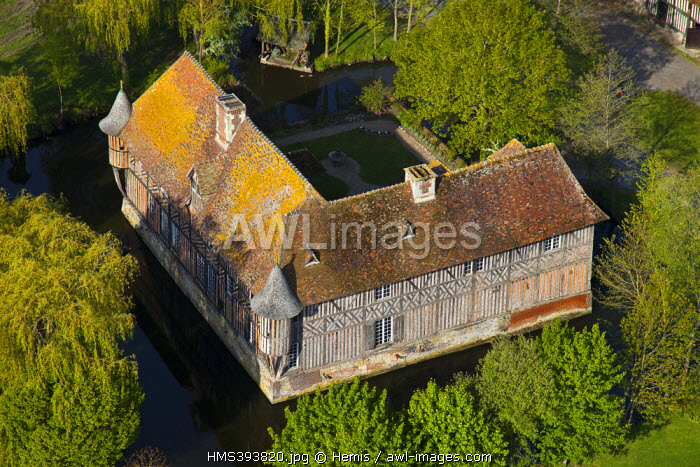 France, Calvados, Coupesarte, XVIth century manor house listed as historical monument (aerial view) (aerial view)