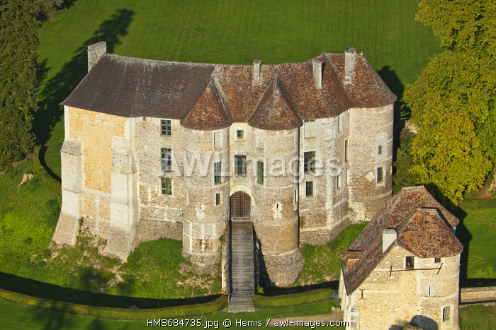 France, Eure, Chateau d'Harcourt, the 12th century fortress (aerial view)