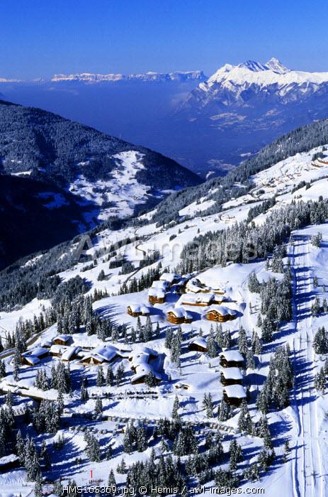France, Savoie, Les Saisies ski resort, Bisanne (aerial view)