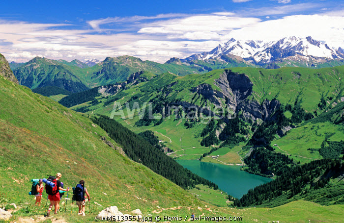 France, Savoie, Beaufortain, Louze pass, Saint Guerin lake and Mont Blanc in the background