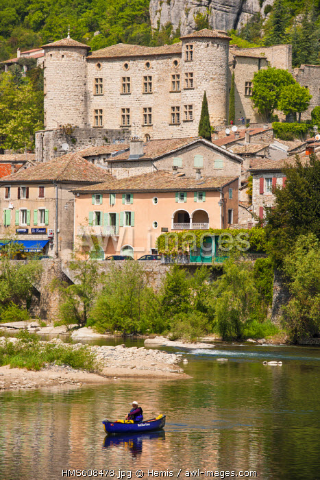 France, Ardeche, the Medieval Vogue, labelled Les Plus Beaux Villages de France (The Most Beautiful Villages of France), the castle of the Marquis refurbished in the 17th century and the Ardeche river