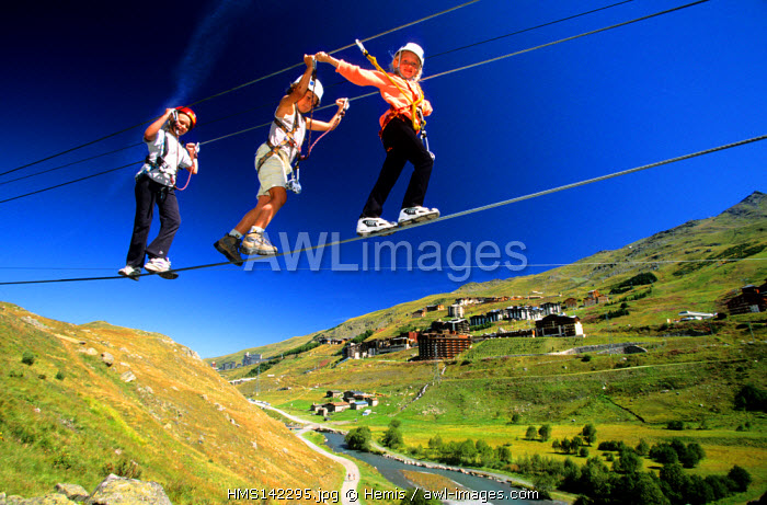 France, Savoie, Les Menuires, adventure trails for children