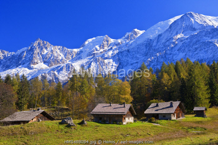 France, Haute Savoie, Les Houches, hamlet of high mountain pasture of Charousse with view on Massif du Mont Blanc and the Mont Blanc (4810m)