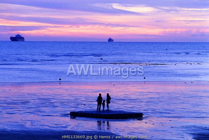 France, Seine Maritime, Le Havre, Sunset on the Beach