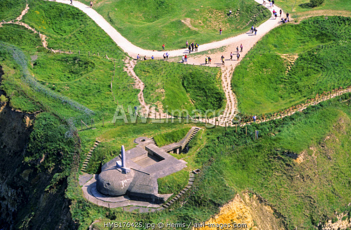 France, Calvados, Pointe du Hoc, monument in memory of the Normandy landings (aerial view)