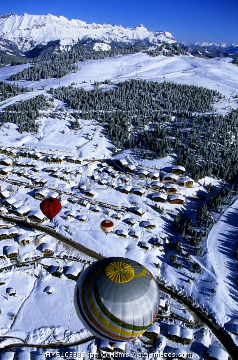 France, Savoie, Les Saisies ski resort (aerial view)