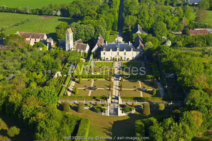 France, Calvados, St Gabriel Brecy, Brecy gardens (aerial view)