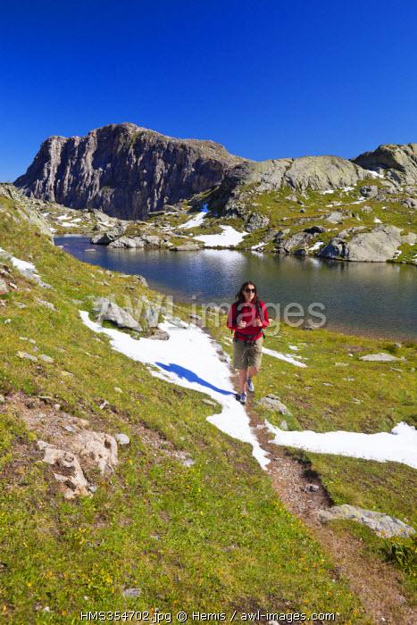 France, Savoie, Meribel, Parc National de la Vanoise (National Park of La Vanoise), Mont Coua lake (2660 m) dominated by the Grand Mont Coua (3014 m)